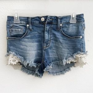 Mossimo | High Rise Denim Shorts w/ Lace